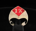 Picture of 21 x BRONZE OUTLAW BIKER RINGS 1% ER ONE PERCENT MOTORBIKE CLUB MC DIAMOND SHAPE DARK RED WHOLESALE-LOT
