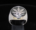 Picture of 21 x STERLING SILVER SIGNET RINGS MARIHUANA LEAF GANJA POT HEAD ANTIQUED WHOLESALE-LOT