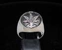 Picture of 21 x STERLING SILVER SIGNET RINGS MARIHUANA LEAF GANJA MEDICAL WEED WHOLESALE-LOT