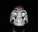 Picture of 21 x STERLING SILVER OUTLAW BIKER GRINING SKULL RINGS 1% ER ONE PERCENT MOTORBIKE CLUB MC DARK RED WHOLESALE-LOT