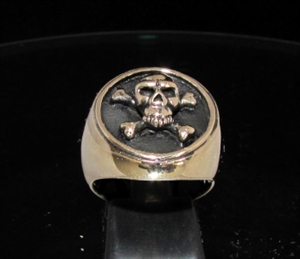 Picture of 21 x BRONZE BIKER SIGNET RINGS CROSS BONES PIRATE SKULL BUKANEER PIRACY JOLLY ROGER MC WHOLESALE-LOT
