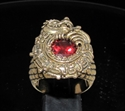 Picture of 21 x BRONZE MEN'S SIGNET RINGS MAYA INCA DRAGON RED DIAMOND CZ ANTIQUED WHOLESALE-LOT