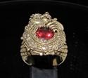 Picture of 21 x BRONZE MEN'S SIGNET RINGS MAYA INCA DRAGON RED DIAMOND CZ ANTIQUED WHOLESALE-LOT