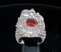 Picture of 21 x STERLING SILVER MEN'S RINGS MAYA INCA DRAGON RED CZ DIAMOND WHOLESALE-LOT