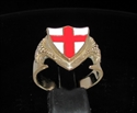 Picture of 21 x BRONZE DRAGON SHIELD RINGS ENGLAND FLAG COAT OF ARMS RED CROSS ON WHITE WHOLESALE-LOT