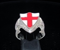 Picture of 21 x STERLING SILVER DRAGON SHIELD RINGS ENGLAND FLAG COAT OF ARMS RED CROSS ON WHITE WHOLESALE-LOT
