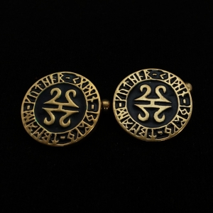 Picture of 21 x ROUND BRONZE CELTIC TRIBAL CUFFLINKS RUNES SYMBOL BLACK WHOLESALE-LOT