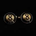 Picture of 21 x ROUND DOMED BRONZE POOL PLAYER CUFFLINKS BLACK EIGHT BALL LUCKY NUMBER WHOLESALE-LOT
