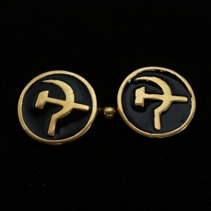 Picture of 21 x ROUND BRONZE COMMUNIST CUFFLINKS HAMMER AND SICKLE CCCP USSR BLACK WHOLESALE-LOT