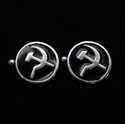 Picture of 21 x ROUND STERLING SILVER COMMUNIST CUFFLINKS HAMMER AND SICKLE CCCP USSR BLACK WHOLESALE-LOT