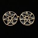 Picture of 21 x ROUND FLAT BRONZE SEVEN POINT STAR CUFFLINKS HEPTAGON HEPTAGRAM BLACK WHOLESALE-LOT