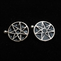 Picture of 21 x ROUND FLAT STERLING SILVER HEPTAGRAM CUFFLINKS HEPTAGON STAR BLACK WHOLESALE-LOT