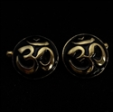Picture of 21 x ROUND DOMED BRONZE BUDDHIST CUFFLINKS AUM OHM OM SYMBOL BLACK WHOLESALE-LOT