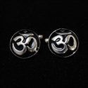 Picture of 21 x ROUND DOMED STERLING SILVER BUDDHIST CUFFLINKS AUM OHM OM SYMBOL BLACK WHOLESALE-LOT