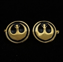 Picture of 21 x ROUND BRONZE STAR WARS CUFFLINKS REBEL ALLIANCE COAT OF ARMS BLACK WHOLESALE-LOT