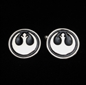 Picture of 21 x ROUND STERLING SILVER STAR WARS CUFFLINKS REBEL ALLIANCE COAT OF ARMS BLACK WHOLESALE-LOT