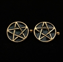 Picture of 21 x ROUND FLAT BRONZE PENTAGRAM CUFFLINKS PENTAGON BLACK WHOLESALE-LOT