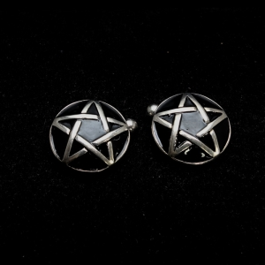 Picture of 21 x ROUND DOMED STERLING SILVER PENTAGRAM CUFFLINKS PENTAGON BLACK WHOLESALE-LOT