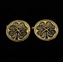 Picture of 21 x ROUND BRONZE CELTIC IRISH SHAMROCK CUFFLINKS FOUR LEAFED CLOVER BLACK WHOLESALE-LOT