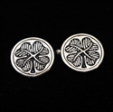 Picture of 21 x ROUND STERLING SILVER IRISH SHAMROCK CUFFLINKS FOUR LEAFED CLOVER BLACK WHOLESALE-LOT