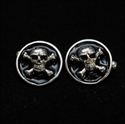 Picture of 21 x ROUND STERLING SILVER JOLLY ROGER CUFFLINKS PIRATE SKULL CROSSED BONES BLACK WHOLESALE-LOT