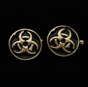 Picture of 21 x ROUND BRONZE RESIDENT EVIL CUFFLINKS TOXIC WASTE BIOHAZARD SYMBOL BLACK WHOLESALE-LOT