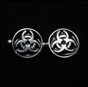 Picture of 21 x ROUND STERLING SILVER RESIDENT EVIL CUFFLINKS TOXIC WASTE BIOHAZARD SYMBOL BLACK WHOLESALE-LOT