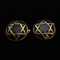 Picture of 21 x ROUND DOMED BRONZE STAR OF DAVID CUFFLINKS HEXAGRAM HEXAGON BLACK WHOLESALE-LOT