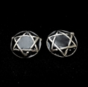 Picture of 21 x ROUND DOMED STERLING SILVER STAR OF DAVID CUFFLINKS HEXAGRAM HEXAGON BLACK WHOLESALE-LOT