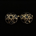 Picture of 21 x ROUND DOMED BRONZE SEVEN POINT STAR CUFFLINKS HEPTAGRAM HEPTAGON BLACK WHOLESALE-LOT