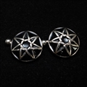 Picture of 21 x ROUND DOMED STERLING SILVER CUFFLINKS HEPTAGRAM HEPTAGON BLACK WHOLESALE-LOT