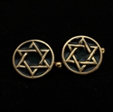 Picture of 21 x ROUND BRONZE STAR OF DAVID CUFFLINKS FLAT HEXAGON HEXAGRAM BLACK WHOLESALE-LOT