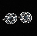 Picture of 21 x ROUND STERLING SILVER STAR OF DAVID CUFFLINKS FLAT HEXAGON HEXAGRAM BLACK WHOLESALE-LOT