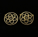 Picture of 21 x ROUND BRONZE CUFFLINKS ATOMOS NUCLEAR CLOUD SYMBOL SCIENCE BLACK WHOLESALE-LOT