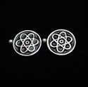 Picture of 21 x ROUND STERLING SILVER CUFFLINKS ATOMOS NUCLEAR CLOUD SYMBOL SCIENCE BLACK WHOLESALE-LOT
