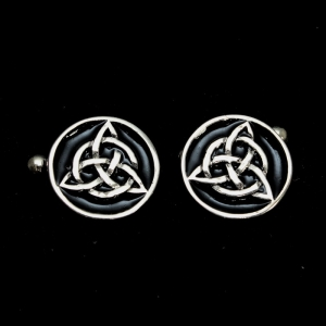 Picture of 21 x ROUND STERLING SILVER CELTIC TRINITY KNOT CUFFLINKS TRISKELE BLACK WHOLESALE-LOT