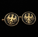 Picture of 21 x ROUND BRONZE CUFFLINKS GERMAN EAGLE SEAL COAT OF ARMS BLACK WHOLESALE-LOT