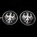 Picture of 21 x ROUND STERLING SILVER CUFFLINKS GERMAN EAGLE SEAL COAT OF ARMS BLACK WHOLESALE-LOT