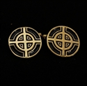 Picture of 21 x ROUND CELTIC CROSS BRONZE CUFFLINKS BULLS EYE TARGET BLACK ENAMEL WHOLESALE-LOT