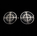 Picture of 21 x ROUND STERLING SILVER CELTIC CROSS CUFFLINKS BULLS EYE TARGET BLACK WHOLESALE-LOT