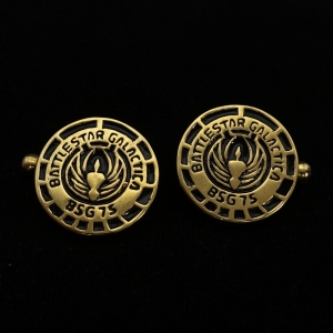 Picture of 21 x ROUND BRONZE BRIDGE OFFICER CUFFLINKS BATTLESTAR GALACTICA BSG 75 BLACK WHOLESALE-LOT