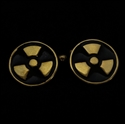 Picture of 21 x ROUND BRONZE CUFFLINKS TREFOIL RADIOACTIVE WARNING SYMBOL BLACK WHOLESALE-LOT
