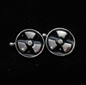 Picture of 21 x ROUND STERLING SILVER CUFFLINKS TREFOIL RADIOACTIVE SYMBOL BLACK WHOLESALE-LOT