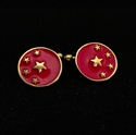 Picture of 21 x ROUND BRONZE CUFFLINKS ALMIGHTY CHINA CHINESE FLAG 5 STARS RED WHOLESALE-LOT