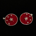 Picture of 21 x ROUND STERLING SILVER CUFFLINKS ALMIGHTY CHINA CHINESE FLAG 5 STARS RED WHOLESALE-LOT