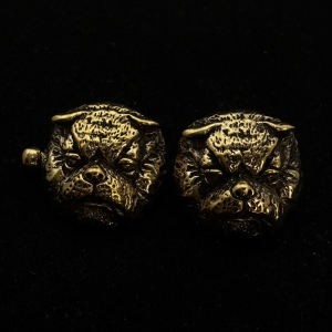 Picture of 21 x DETAILED BRONZE CUFFLINKS BULLDOG ARMY MASCOT SPIKE WHOLESALE-LOT