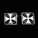 Picture of 21 x SQUARE STERLING SILVER MEDIEVAL CUFFLINKS IRON CROSS CHOPPER BLACK WHOLESALE-LOT
