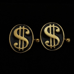 Picture of 21 x OVAL BRONZE WALLSTREET CUFFLINKS USD DOLLAR GREENBACK MONEY BLACK WHOLESALE-LOT