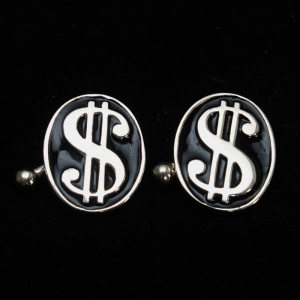 Picture of 21 x OVAL STERLING SILVER WALLSTREET CUFFLINKS USD DOLLAR GREENBACK MONEY BLACK WHOLESALE-LOT