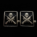 Picture of 21 x SQUARE STERLING SILVER CUFFLINKS M16 FIGHTER IRON MAIDEN MASCOT BLACK WHOLESALE-LOT
